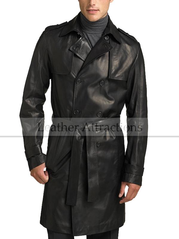 Men s Knee Length Leather Duster Coat d5251c37e3c8