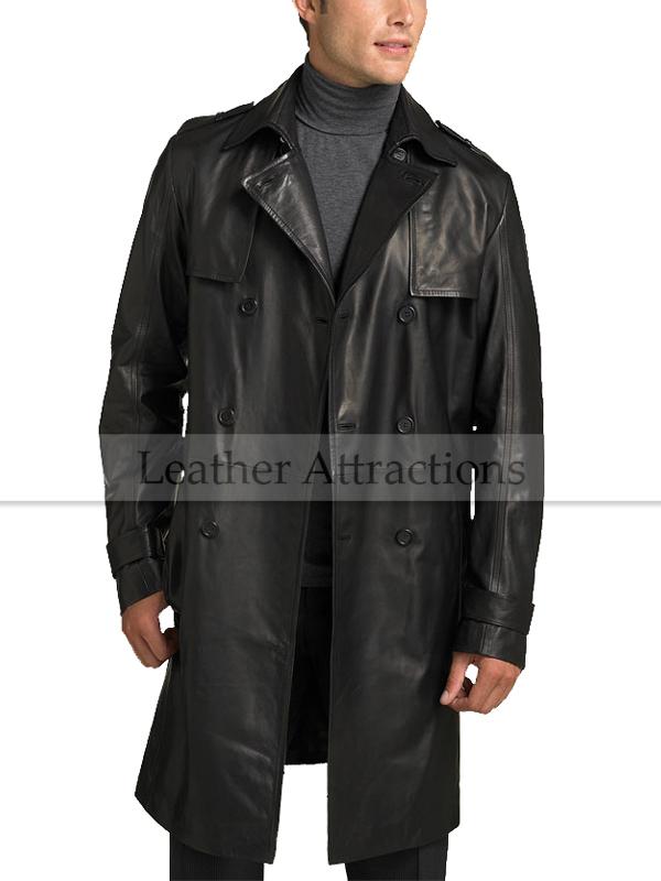 Men's Knee Length Leather Duster Coat