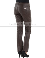 5-Pocket-Ladies-Leather-Brown-Pants-Back-Side