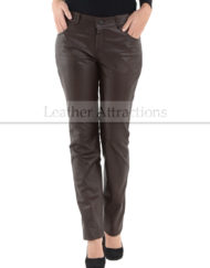 5-Pocket-Ladies-Leather-Brown-Pants-Front-small