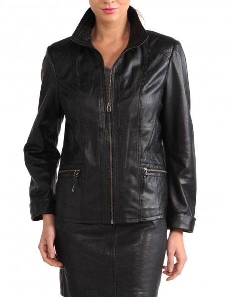 Avant Full Zipper Ladies Leather Jacket Black Front