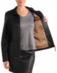 Avant Full Zipper Ladies Leather Jacket Black Inner