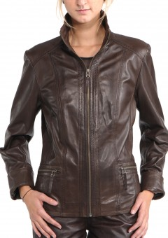 Avant Full Zipper Ladies Leather Jacket Close Front