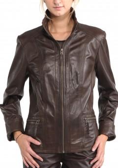 Avant Full Zipper Ladies Leather Jacket Close Front