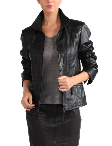 Avant Full Zipper Ladies Leather Jacket Open Black