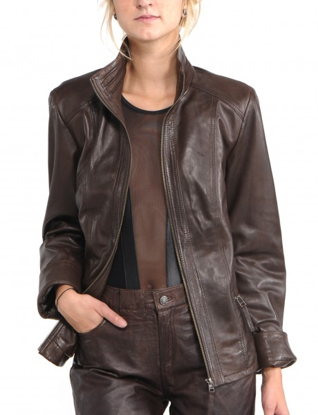 Avant Full Zipper Ladies Leather Jacket Open Front