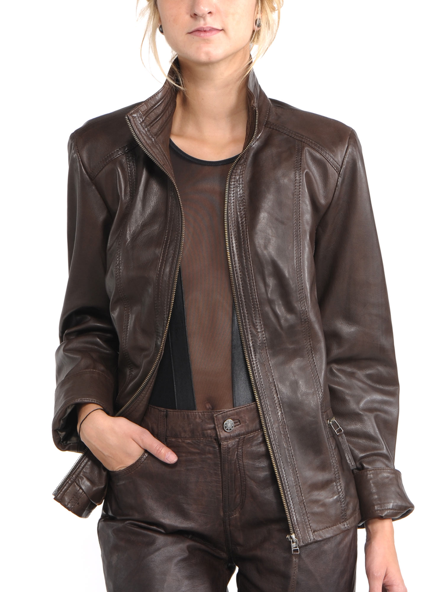 Avant Full Zipper Ladies Leather Jacket