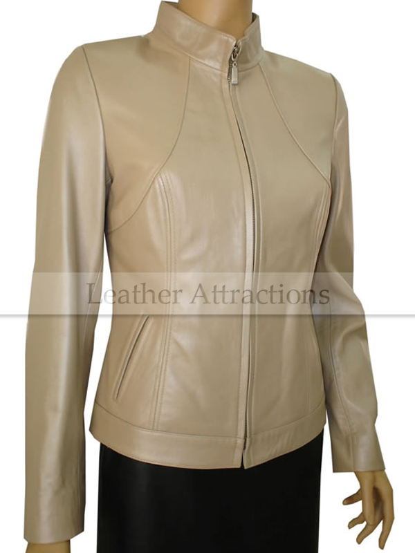 Smart fitted Ladies Beige Leather Jacket