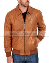 Bendera-Cognac-Cuir-Soft-Leather-Jacket-Front-close