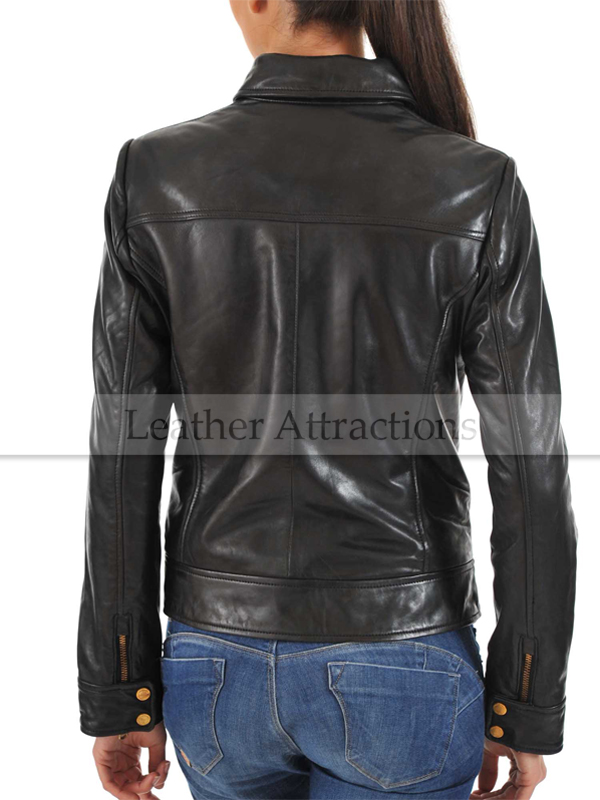 Black Fantasy Women Lambskin Leather Jacket