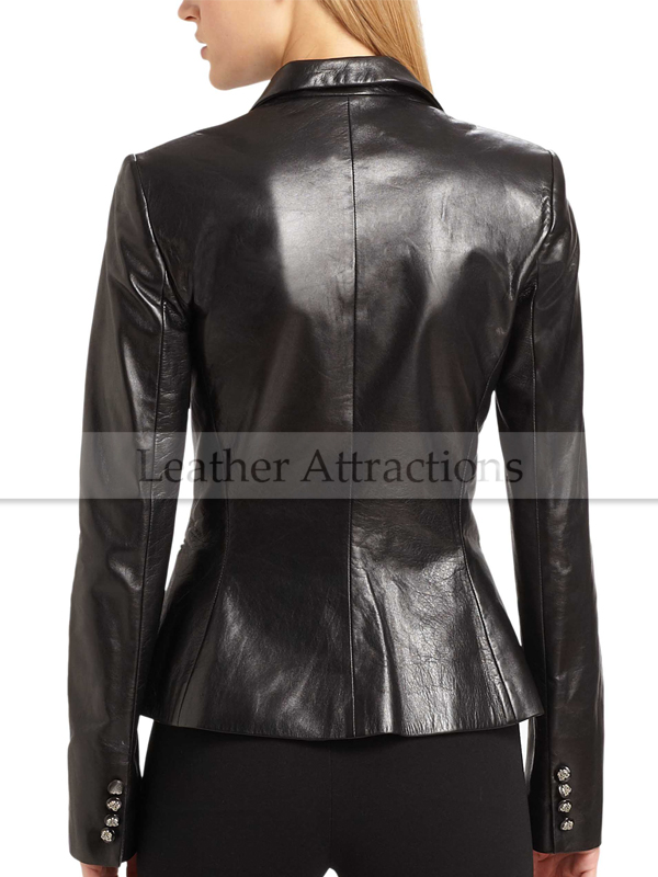 Womens black blazer with leather