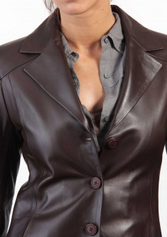 Chic Ladies Leather Jacket Front