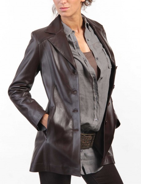 Chic Ladies Leather Jacket Main Front