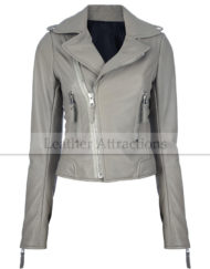 Classic-Corpped-Gray-Ladies-Biker-Jacket-front