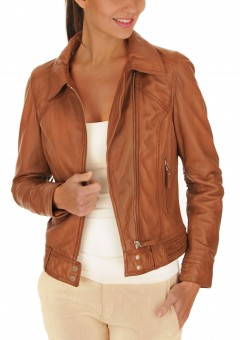 Collage Soft Leather Women Jacket Front
