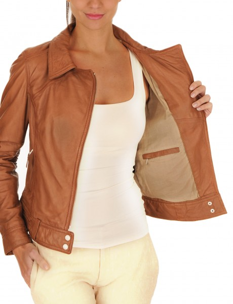 Collage Soft Leather Women Jacket Inner