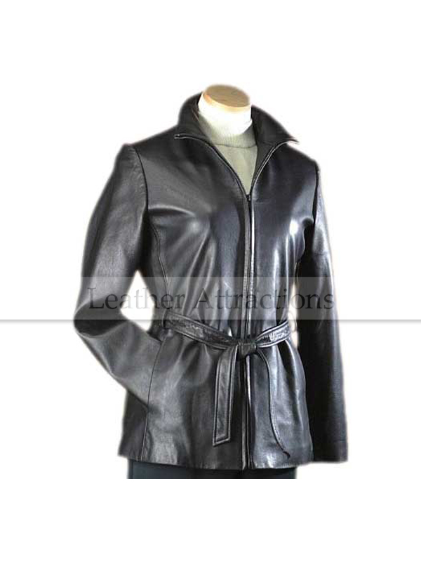 Convertible Collar Ladies Leather Jacket