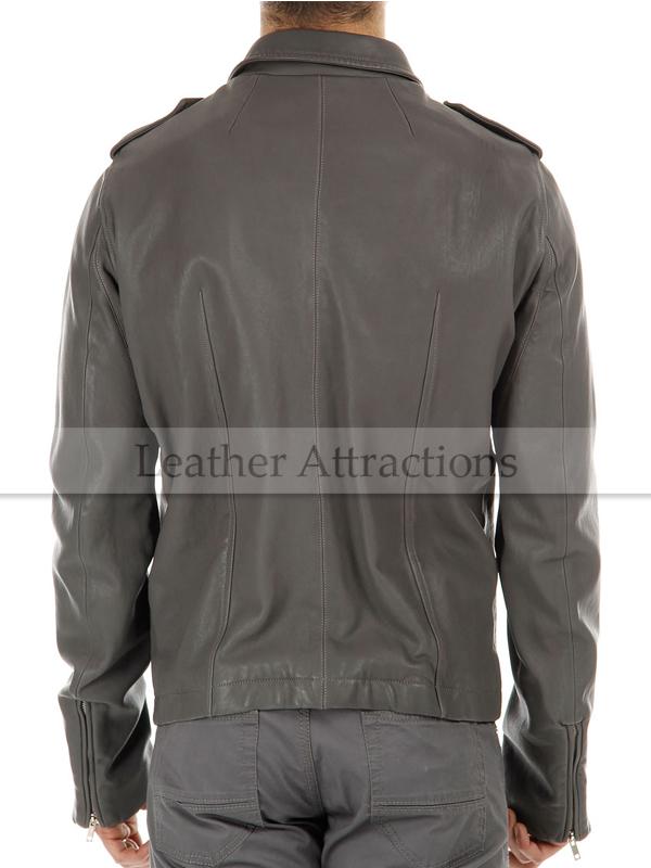 Designer Style Men Lamb Leather Moto Jacket