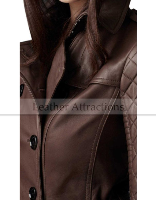 Designers-Quilted-Sleeves-Women-3-4-length-leather-trench-Coat-Closeup