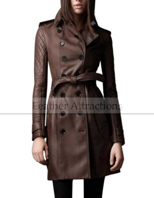 Designers-Quilted-Sleeves-Women-3-4-length-leather-trench-Coat-Front
