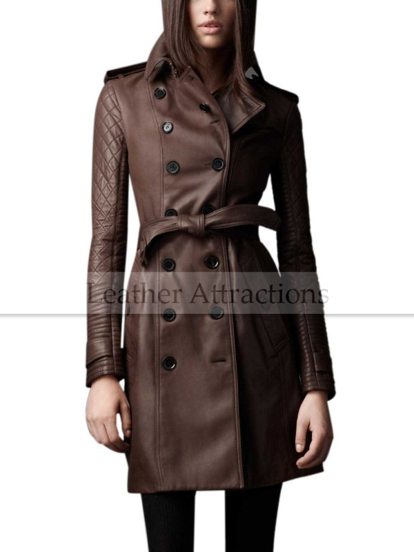 best quality for latest style choose latest Designers Quilted Sleeves Women 3-4 length leather trench Coat