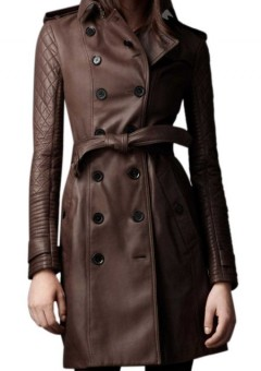 Designers Quilted Sleeves Women 3-4 length leather trench Coat