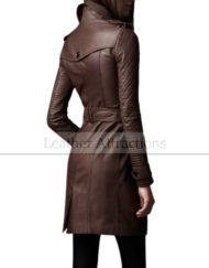 Designers-Quilted-Sleeves-Women-3-4-length-leather-trench-Coat-Side