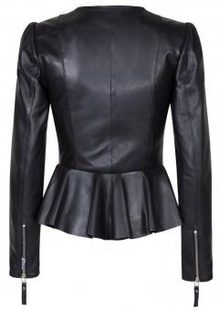Duches Black leather Ladies Jacket Back MAin