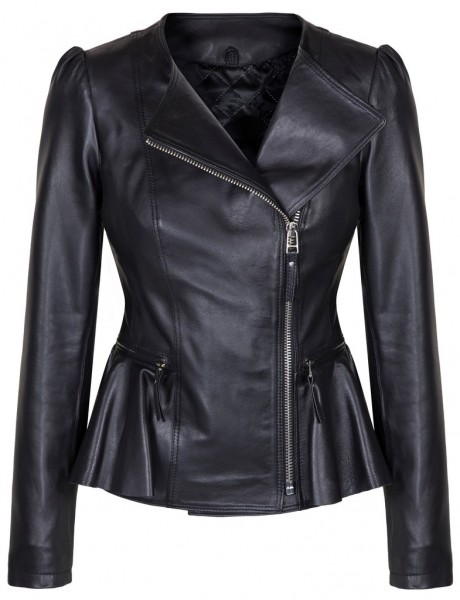 Duches Black leather Ladies Jacket Front MAin