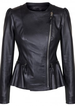 Duches Black leather Ladies Jacket MAin Front