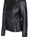 Duches Black leather Ladies Jacket Side Front