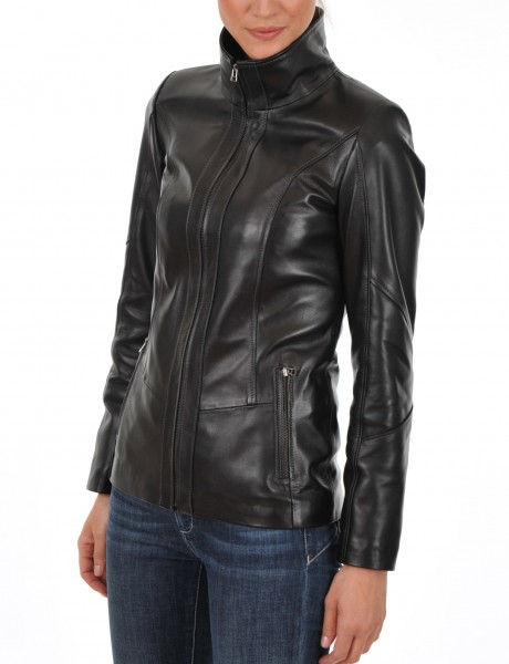 Euro Ladies Leather jacket Side Main