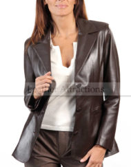 Excelsior-Women-Leather-Blazer-Brown-Front-Open