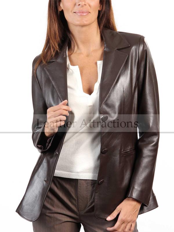 Womens brown leather blazer jacket