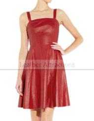 Flared-Hem-Red-Leather-Dress3