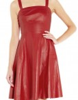 Flared Hem Red Leather Dress3