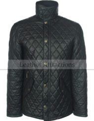 Full-Quilted-Men-Leather-Jacket-Black-Front