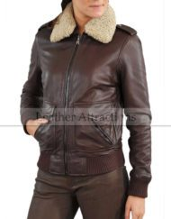Fur-Collar-Women-Bomber-Leather-Jacket-Front