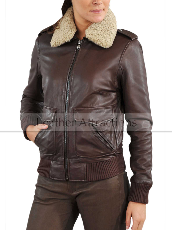Fur Collar Women Bomber Leather Jacket