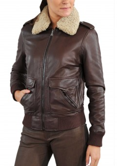 Fur Collar Women Bomber Leather Jacket Front