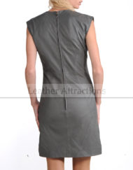 Georgeous-Lady-Grey-leather-Dress-Back