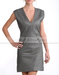 Georgeous-Lady-Grey-leather-Dress-Front
