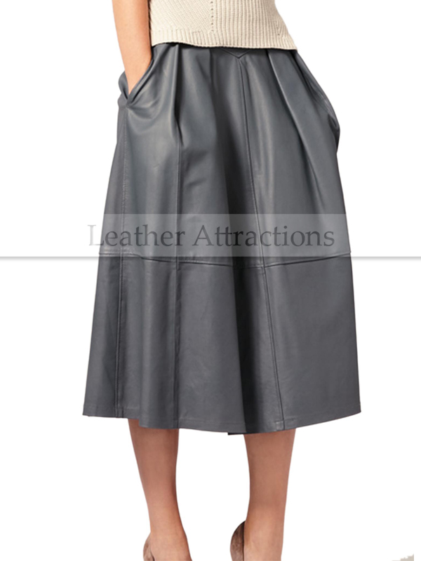 Gray Flared Long Leather Skirt