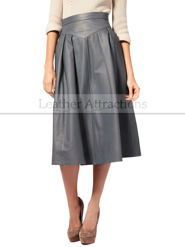211d8157282a Gray Flared Long Leather Skirt