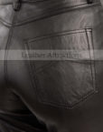 Jean-Style-5-pocket-Women-black-leather-Pants-BAck-Closeup