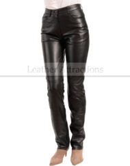 Jean-Style-5-pocket-Women-black-leather-Pants-Front
