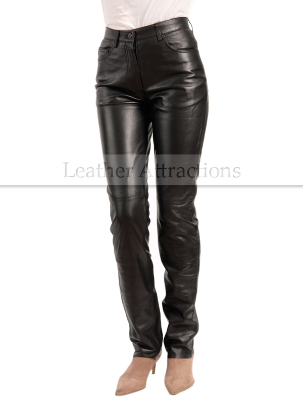 Jean Style 5 pocket Women black leather Pants