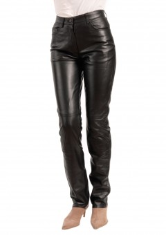 Jean Style 5 pocket Women black leather Pants Front