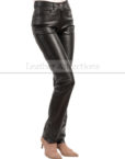 Jean-Style-5-pocket-Women-black-leather-Pants-LEft