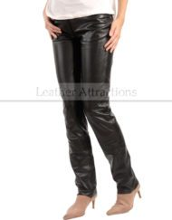 Jean-Style-5-pocket-Women-black-leather-Pants-Left-Side